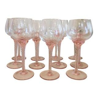 Pink Stem Wine Glasses - Set of 11 For Sale