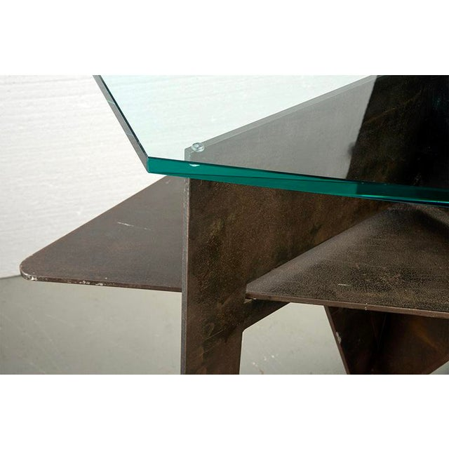 Metal Extra Large Brutalist Console with Iron Base and Glass Top For Sale - Image 7 of 9