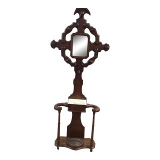 Vintage Gothic Hall Tree Umbrella Stand With Mirror For Sale