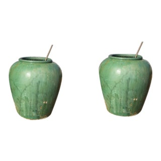 1930s Asian Pottery Garden Urns/Pots - a NearPair For Sale