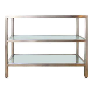 Midcentury Italian Nickel and Frosted Glass Bookshelf, Circa 1960 For Sale
