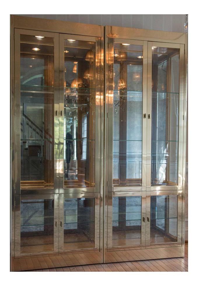 Pair Of Stellar Brass U0026 Glass Mastercraft Cabinets
