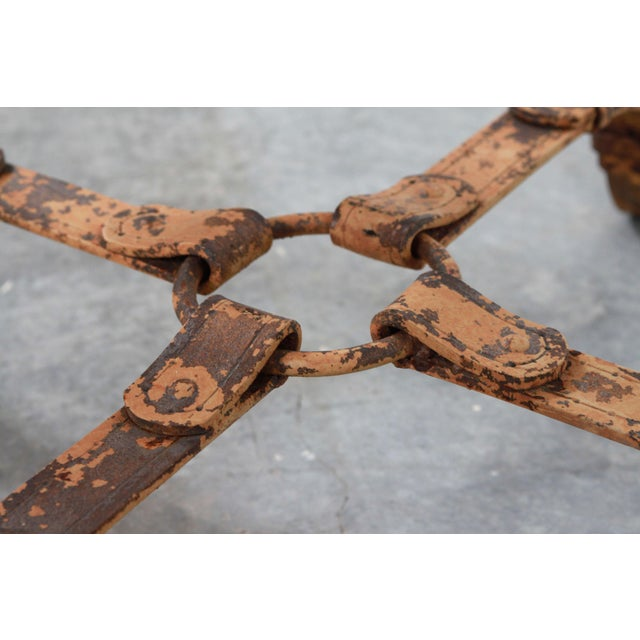 White Vintage Jacques Adnet / Hermes Style Cast Iron Leather Equestrian Strap Coffee Table For Sale - Image 8 of 11
