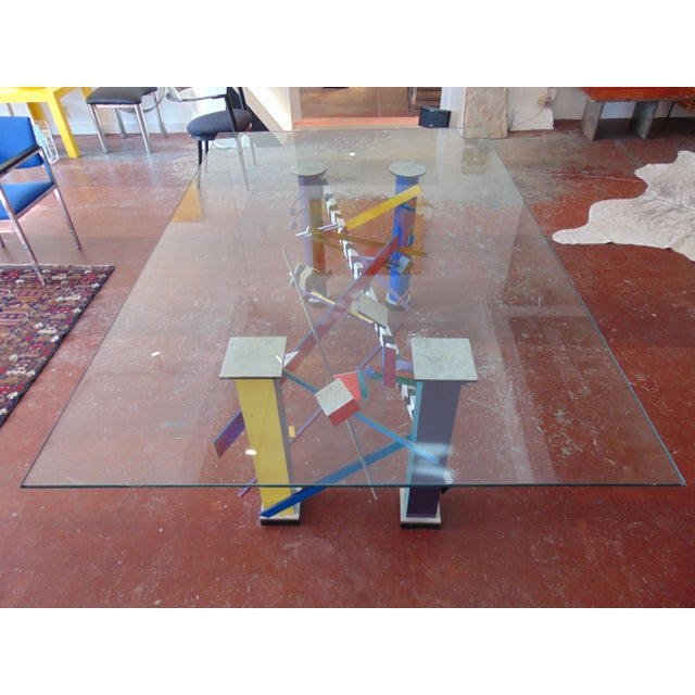 Memphis Style Abstract Geometric Table - Image 2 of 7