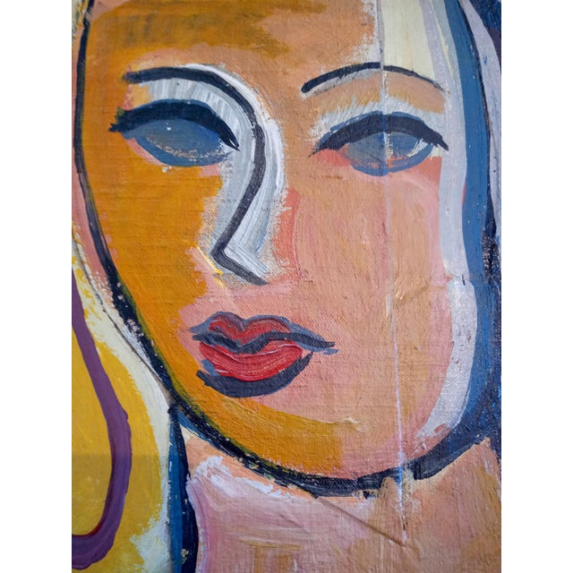Mid-Century Modern Mid 20th Century Cubist Portrait of a Woman Oil Painting, Framed For Sale - Image 3 of 9