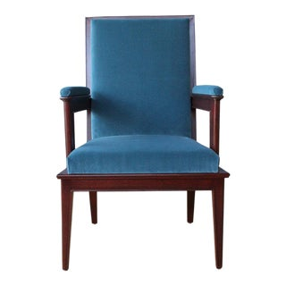 Set of Four Mahogany Armchairs in Velvet, France, 1940s. Sold Only as a Set. For Sale