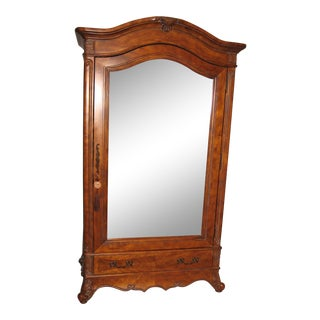 Traditional Armoire With Beveled Mirror Door For Sale