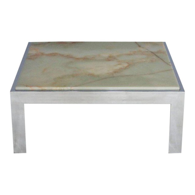 Steel and Marble Cocktail Table For Sale