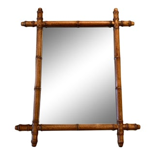 French Antique Faux Bamboo Wood Mirror C.1900-1940 For Sale
