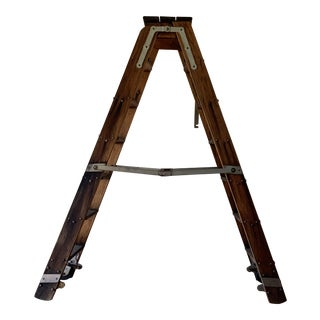 Vintage Putnam & Co Solid Oak Rolling Library Ladder For Sale