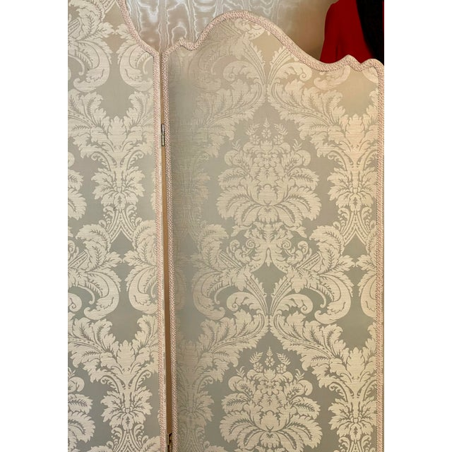French Vintage Scalamandre Damask Louis XVI Style 3 Panel Room Divider Floor Screen For Sale - Image 3 of 4