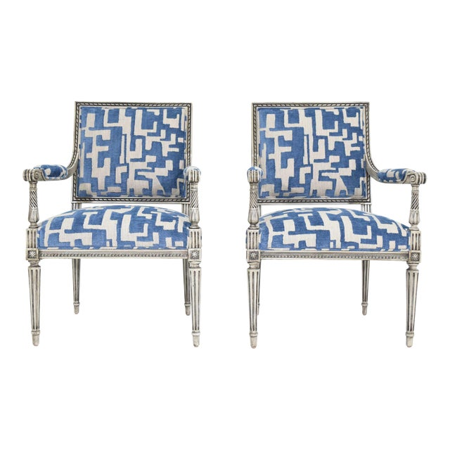 Louis XVI Style Lounge Chairs in Blue/Taupe - a Pair For Sale