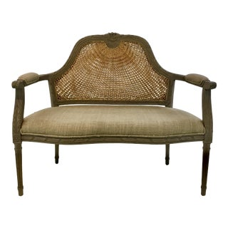French Reproduction Gray Caned Settee in the Style of Louis XVI For Sale