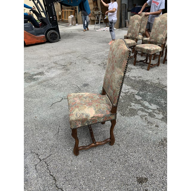1900s Vintage French Louis XIII Style Os De Mouton Dining Chairs - Set of 6 For Sale - Image 11 of 12