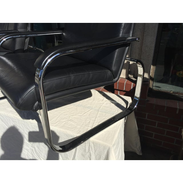 Milo Baughman Style Chrome Leather Lounge Chairs For Sale - Image 4 of 8