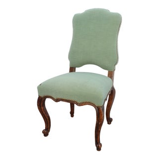 18th C. Louis XV French Provincial Green Upholstered Side Chair For Sale