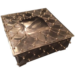 Square Silver Plate Box With Brass Beads After William Spratling For Sale