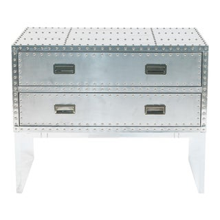 Silver Two Drawer Trunk on Lucite Base For Sale