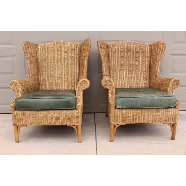 1970s Vintage Henry Link Woven Wicker Wingback Chairs- A Pair For Sale - Image 13 of 13