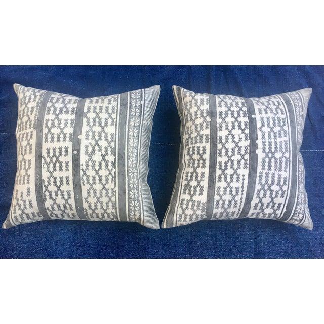 Silver Tribal Batik Pillows - A Pair - Image 3 of 7