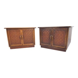 Pair Vintage Walnut End Tables by Lane