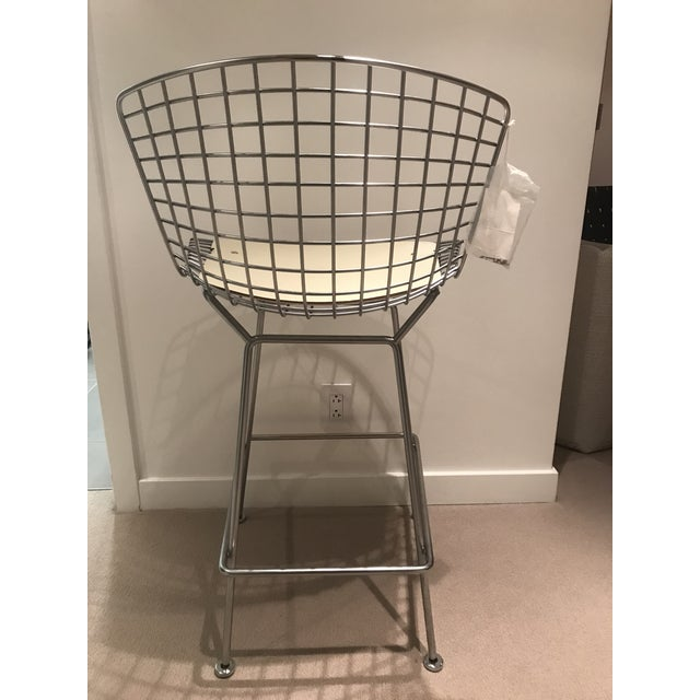 2000 - 2009 Knoll Harry Bertoia Counter Height Bar Stools W/ Cream Colored Cowhide Seat and Back Pads - a Pair For Sale - Image 5 of 13