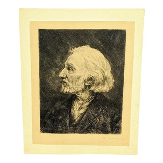 Frederic Jacque Antique Hand Engraving Portrait of Charles Jacque For Sale