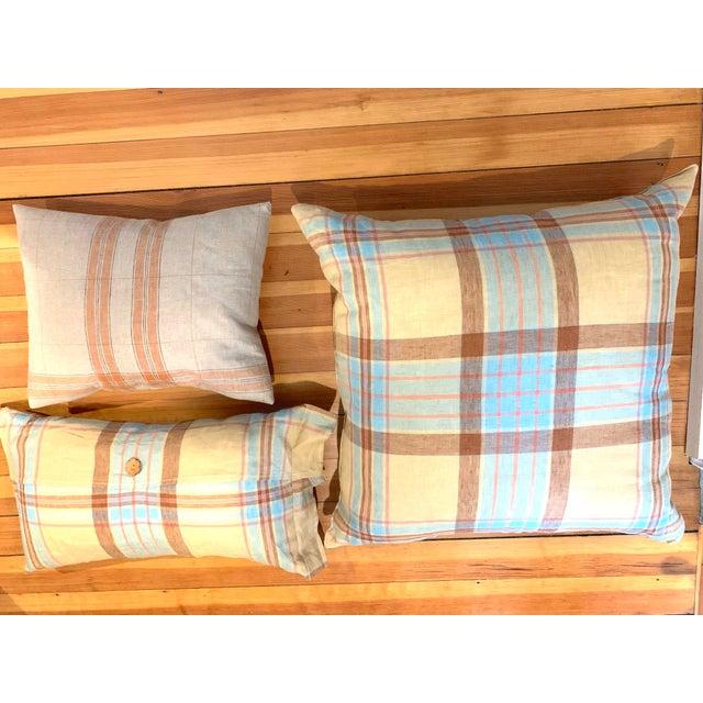 Textile Linen Tea Towel Pillows- Set of 3 For Sale - Image 7 of 7