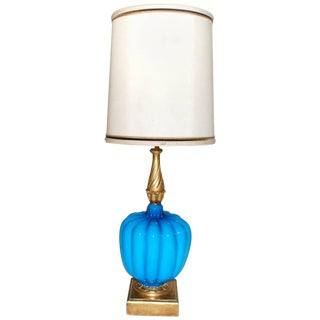 Italian Turquoise Murano Table Lamp For Sale