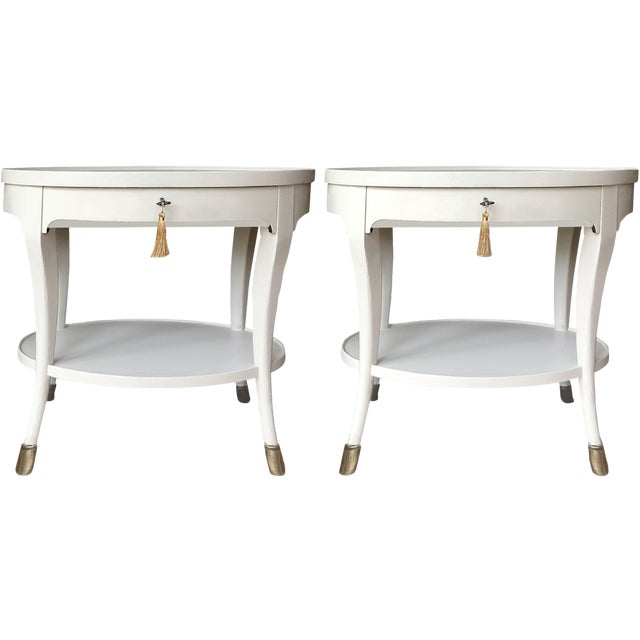 Louis XIV Baker Furniture Oval Side Tables - a Pair For Sale
