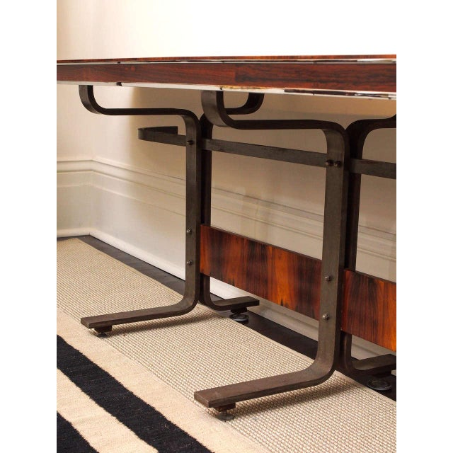 Rosewood & Steel Console For Sale - Image 9 of 11