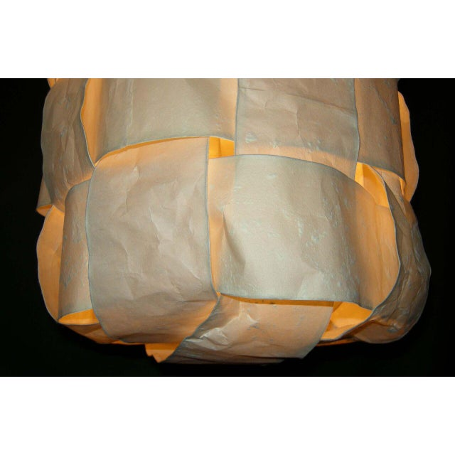 Large Hanging Tube/Cocoon Like Handwoven Paper Lights - Image 7 of 9