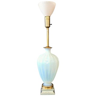 Seguso for Marbro Murano Glass Opaline Lamp For Sale