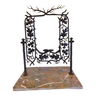 Andirondack Style Iron Framed Swivel Mirror on Marble Base For Sale
