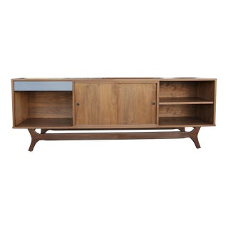 Long Walnut Credenza with Storage For Sale