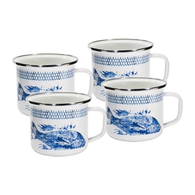 Modern Grande Mugs Fish Camp - Set of 4 For Sale - Image 3 of 3