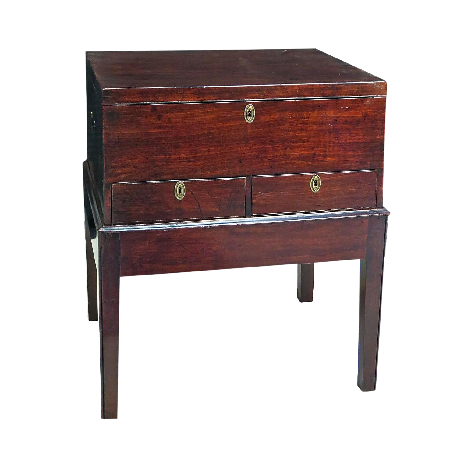 Georgian Mahogany Chest Or Storage Box On Stand