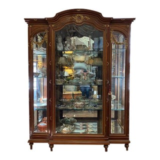19th Century French Brozne Walnut and Bronze China Cabinet For Sale