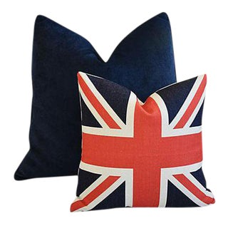Custom Tailored Blue Velvet & Union Jack Feather/Down Pillows - Pair of 2 For Sale