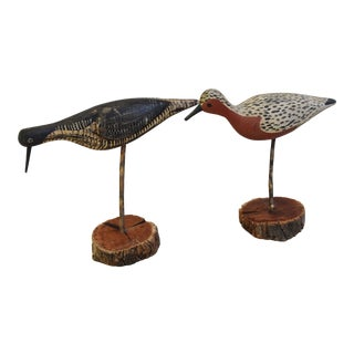 Vintage Hand Carved/Painted Nautical Shorebird Decoys - Set of Two