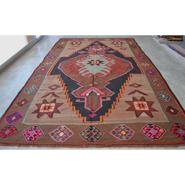 Handwoven Turkish Kilim Rug Anatolia Rug - 7′1″ X 11′6″ For Sale - Image 4 of 10