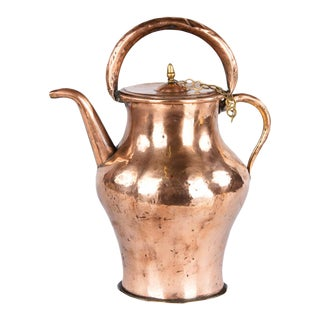 Antique French Copper Ewer Pitcher, Late 1800s For Sale