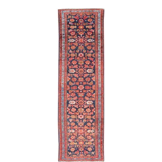 Antique Malayer Runner With Sub-Geometric All-Over Herati Design in Multicolors For Sale