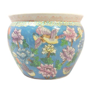 Chinoiserie Pastel Fish Bowl Planter For Sale