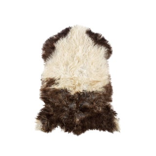"Long Wool Sheepskin Pelt, Handmade Rug 2'3""x3'0"" For Sale"