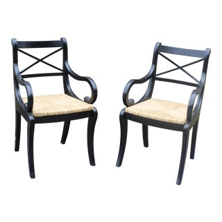 Late 20th Century Pottery Barn Arm Chairs- A Pair For Sale