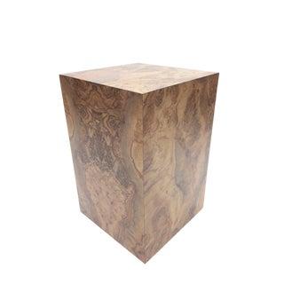 Milo Baughman Style Faux Bois Burlwood Plinth Pedestal For Sale