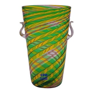 Fratelli Toso 'a Canne' Vase With Aventurin, Murano, Italy Ca. 1965 For Sale