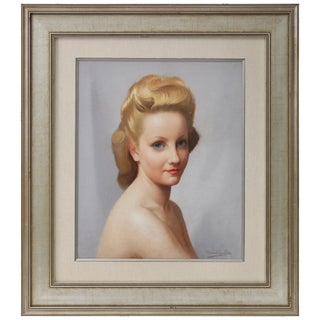 Pastel Portrait of a Woman by Listed Artist Robert Louis Raymond Duflos For Sale