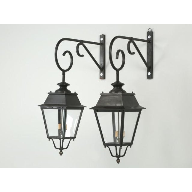 Vintage French Lanterns With Wavy Glass - a Pair For Sale - Image 11 of 11